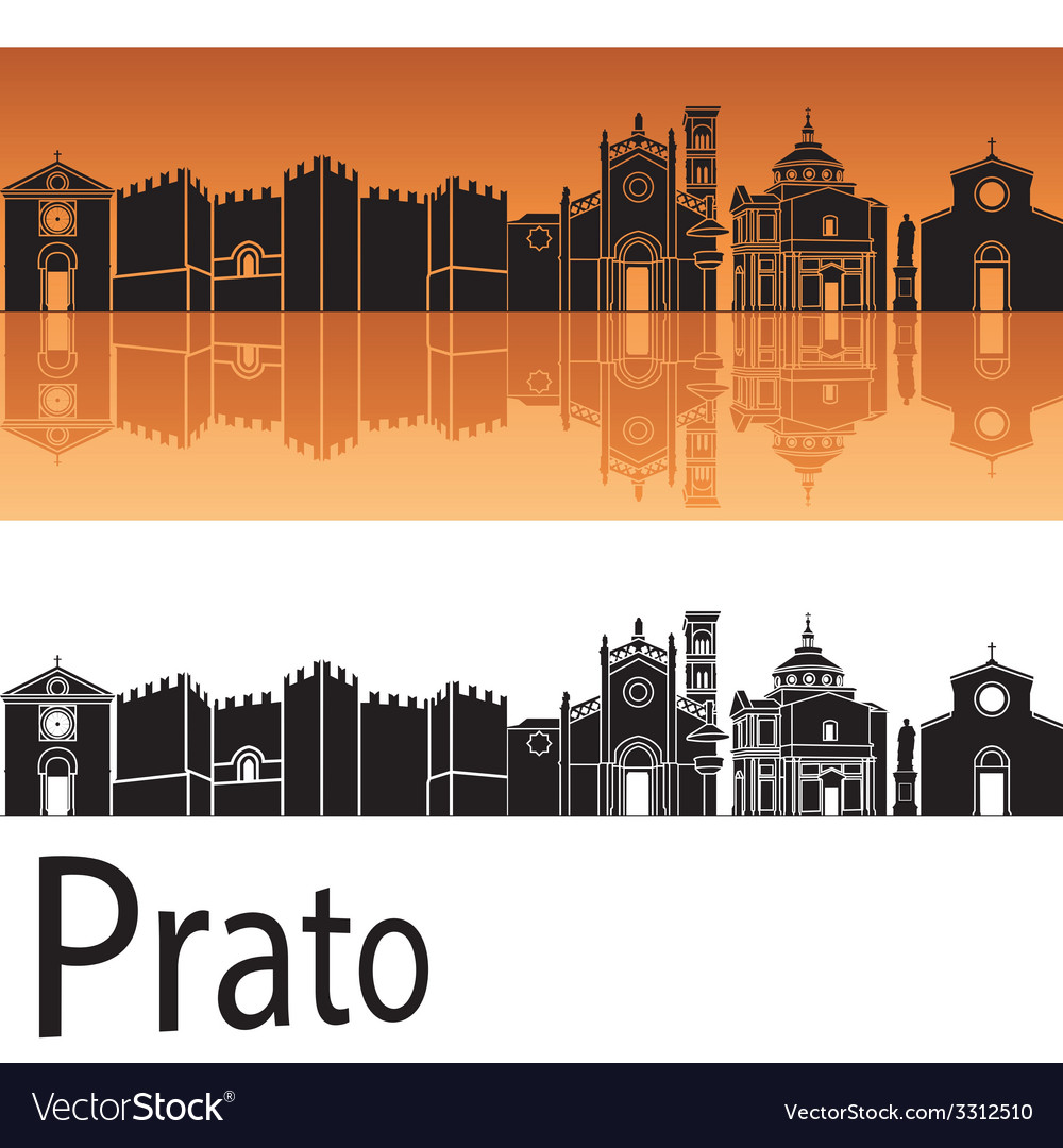Prato skyline in orange background vector | Price: 1 Credit (USD $1)