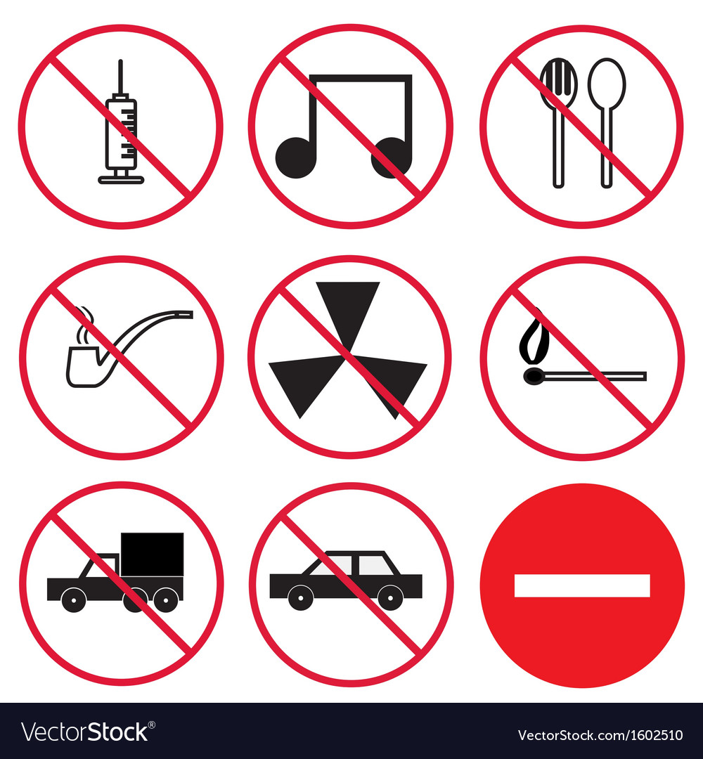 Prohibition signs set vector | Price: 1 Credit (USD $1)