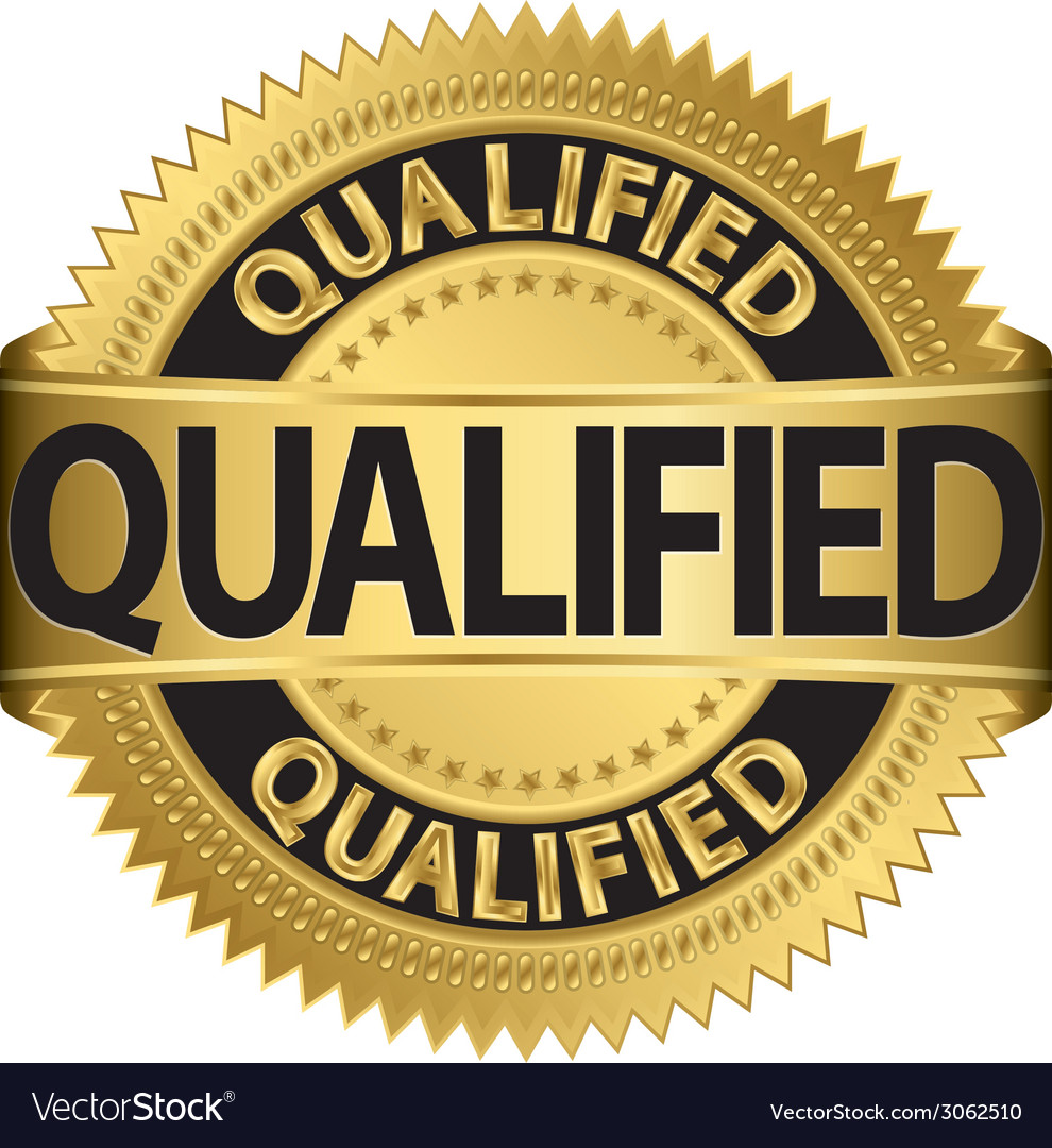 Qualified golden label qualified badge vector | Price: 1 Credit (USD $1)