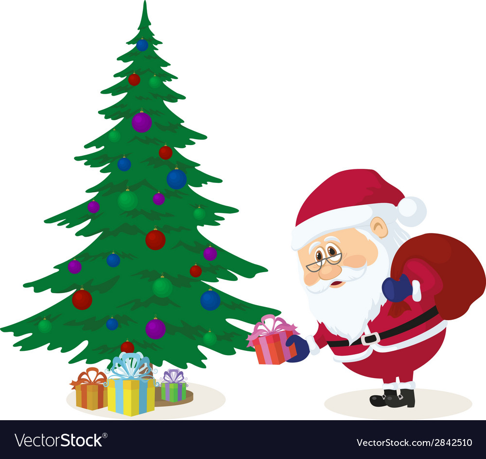 Santa claus putting gifts under fir tree vector | Price: 1 Credit (USD $1)