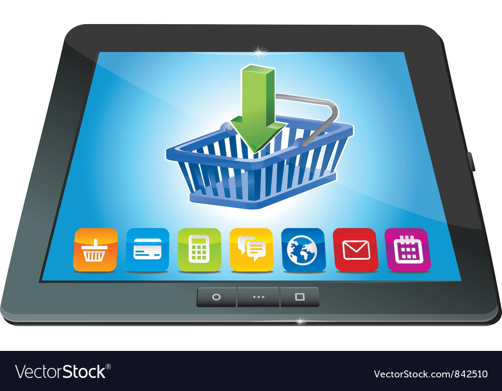 Tablet pc with shopping cart icon - ecommerce conc vector | Price: 1 Credit (USD $1)