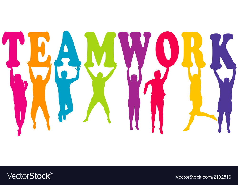 Teamwork concept with colored women and men vector | Price: 1 Credit (USD $1)