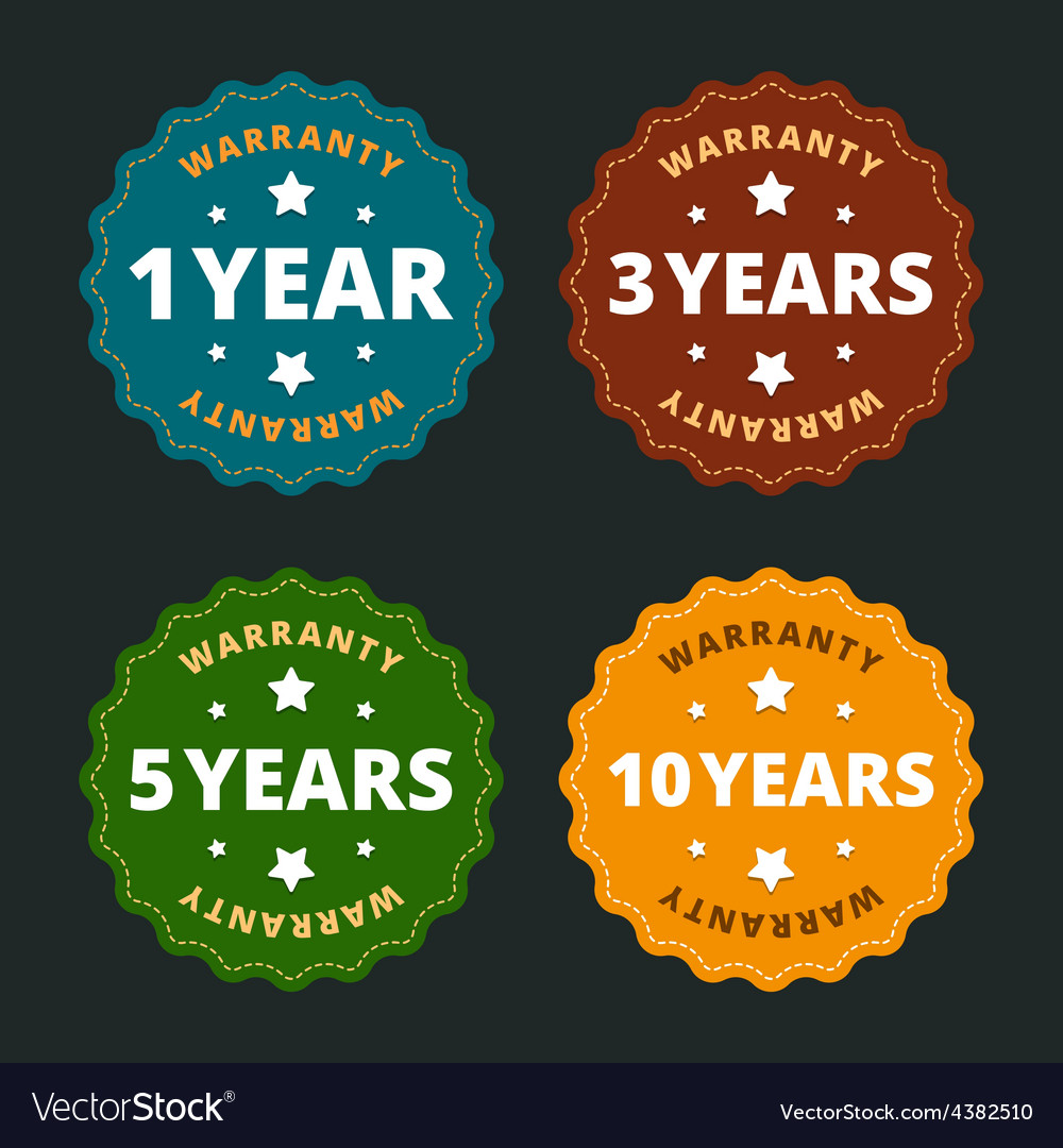 Warranty labels  for 1 2 5 and 10 years in flat vector
