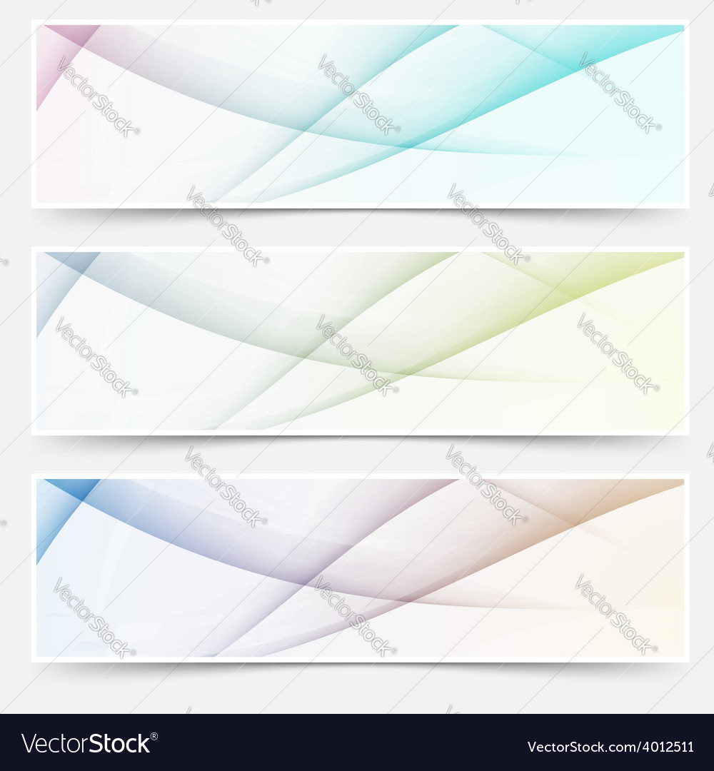 Abstract swoosh line header web footer set vector | Price: 1 Credit (USD $1)