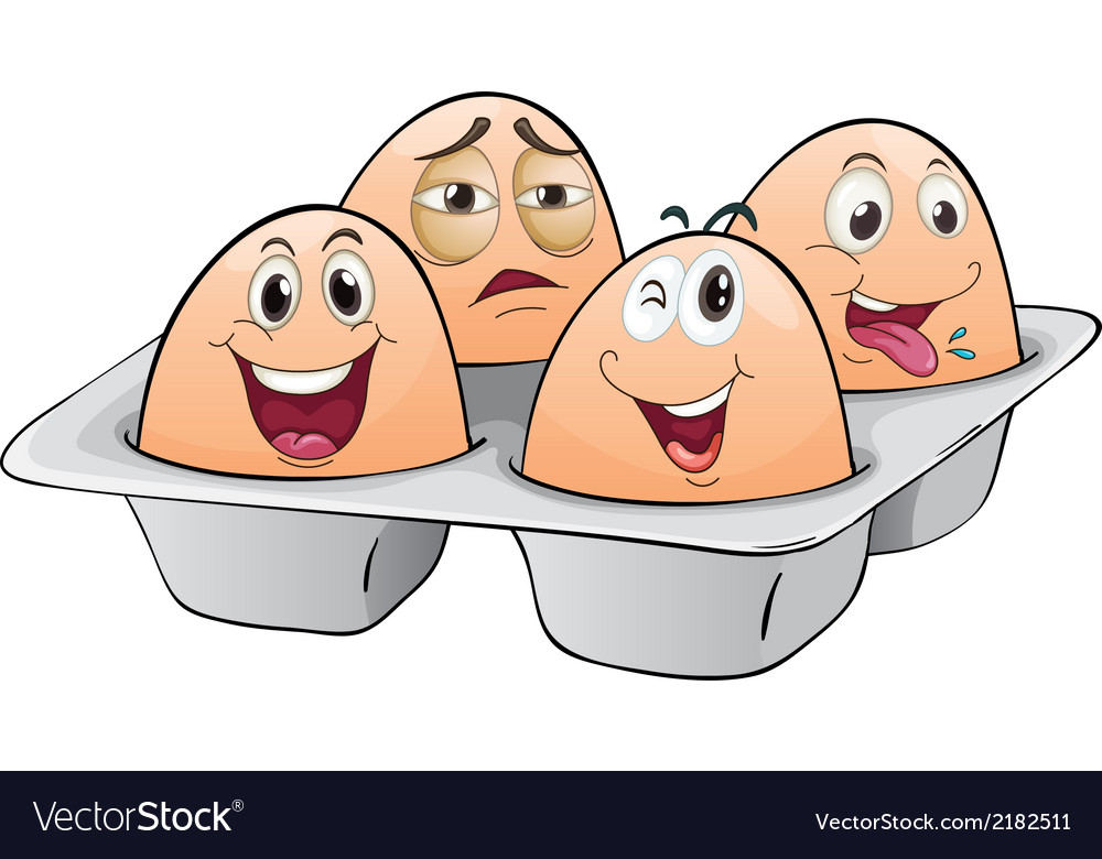 An eggtray with four eggs vector | Price: 1 Credit (USD $1)