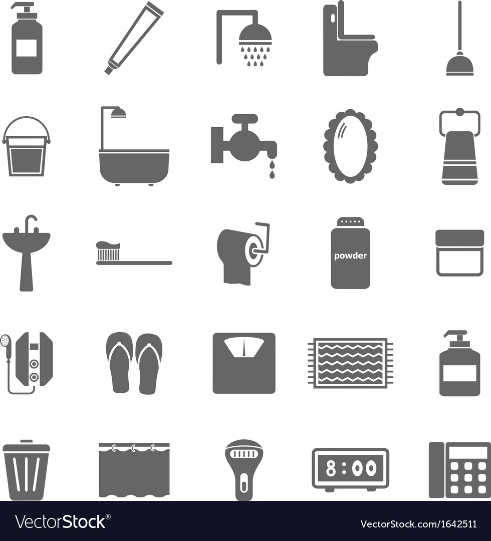 Bathroom icons on white background vector | Price: 1 Credit (USD $1)