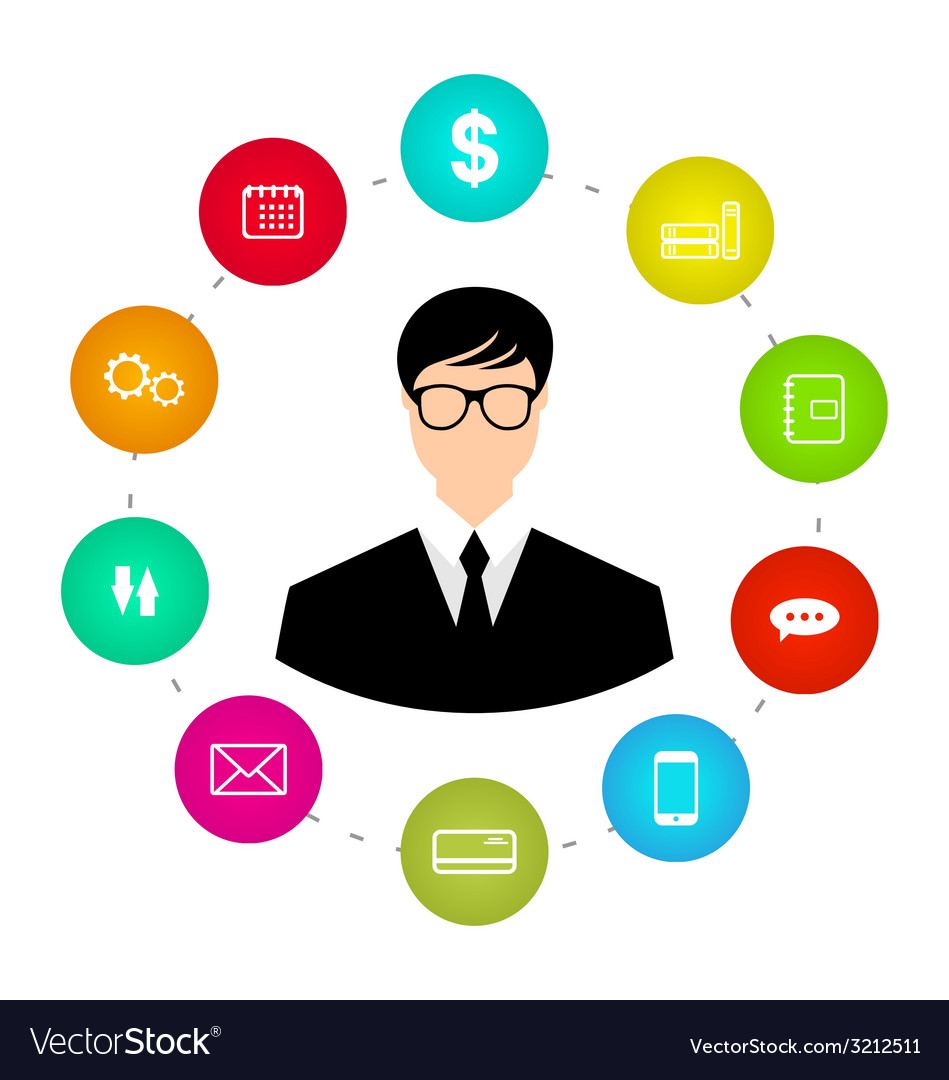 Businessman around icons social media networks and vector | Price: 1 Credit (USD $1)