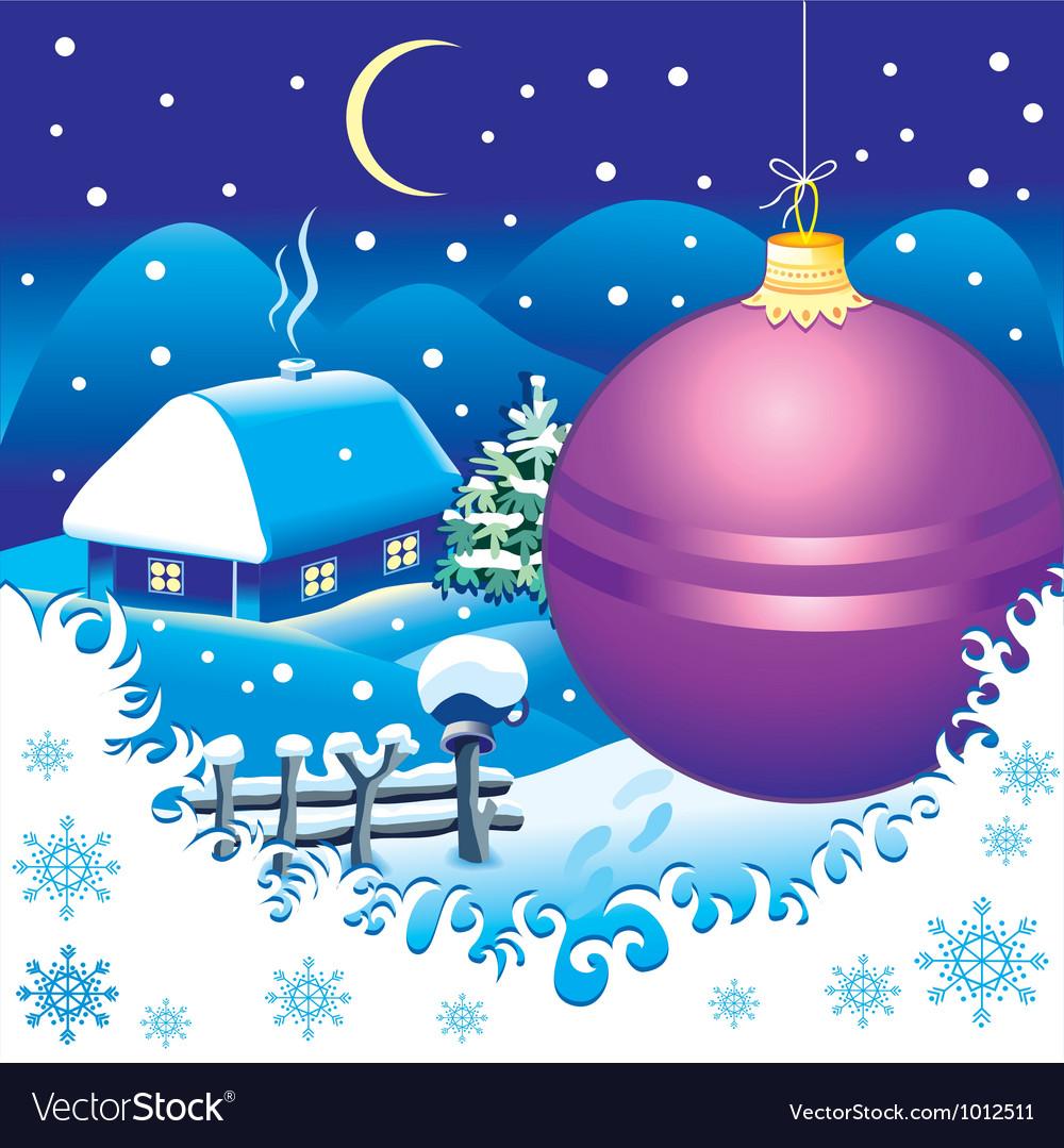 Christmas landscape postcard vector | Price: 1 Credit (USD $1)