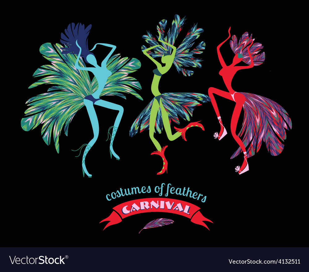 Dancing women in carnival costumes of feathers vector | Price: 1 Credit (USD $1)