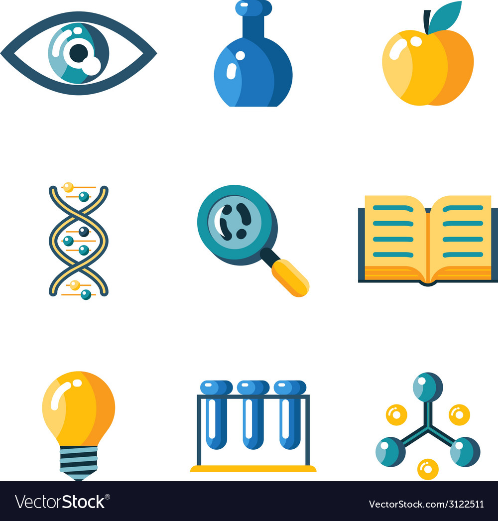 Flat science education research study web icons vector | Price: 1 Credit (USD $1)