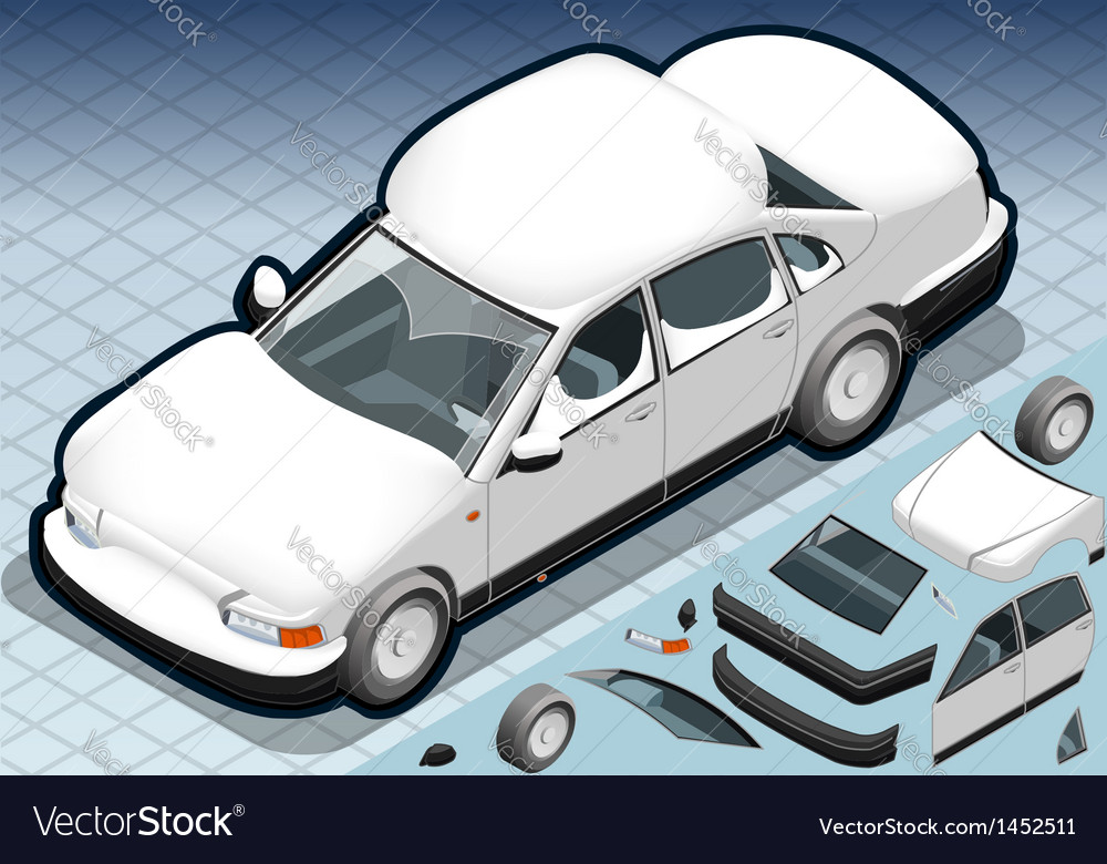 Isometric snow capped white car in front view vector | Price: 1 Credit (USD $1)