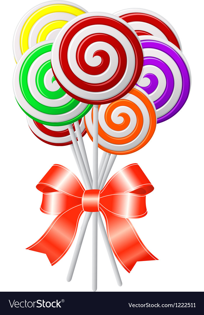 Lollipops with red ribbon vector | Price: 1 Credit (USD $1)