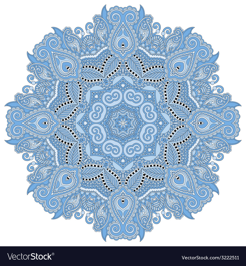 Mandala blue colour circle decorative spiritual vector