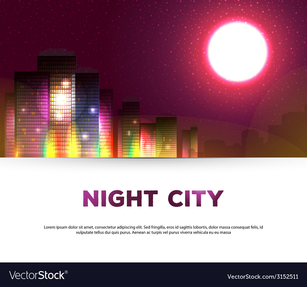 Night urban city background vector | Price: 1 Credit (USD $1)