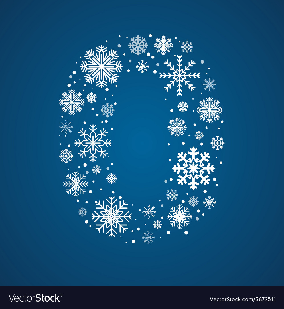 Number 0 font frosty snowflakes vector | Price: 1 Credit (USD $1)