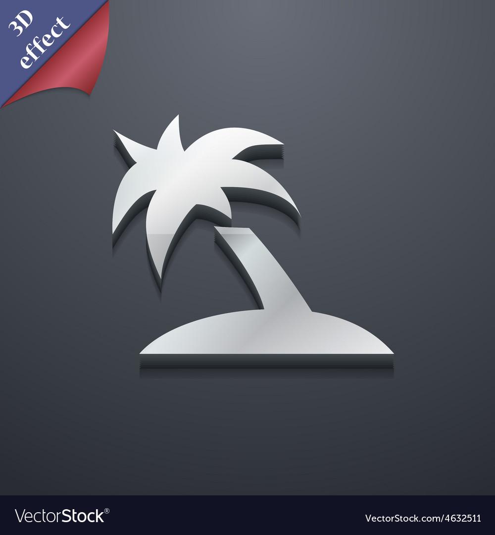 Palm tree travel trip icon symbol 3d style trendy vector   Price: 1 Credit (USD $1)