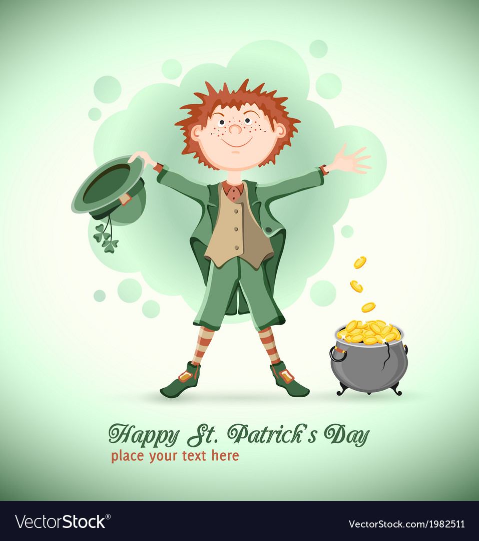 Saint patrick day leprechaun with magic pot vector | Price: 1 Credit (USD $1)