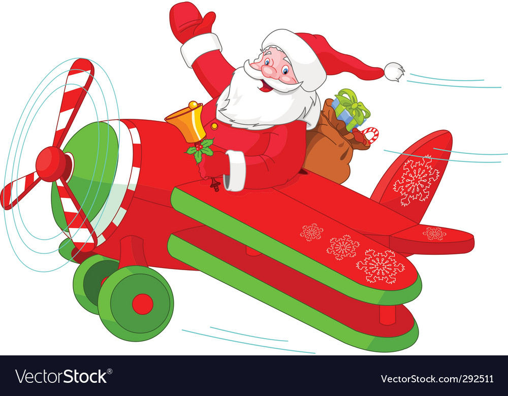 Santa flying his christmas plane vector | Price: 3 Credit (USD $3)