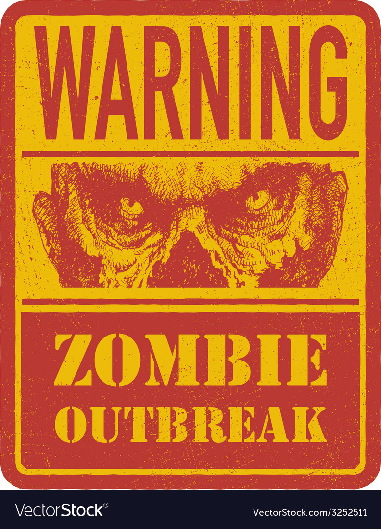 Zombie warning sign hand drawn eps8 vector | Price: 1 Credit (USD $1)