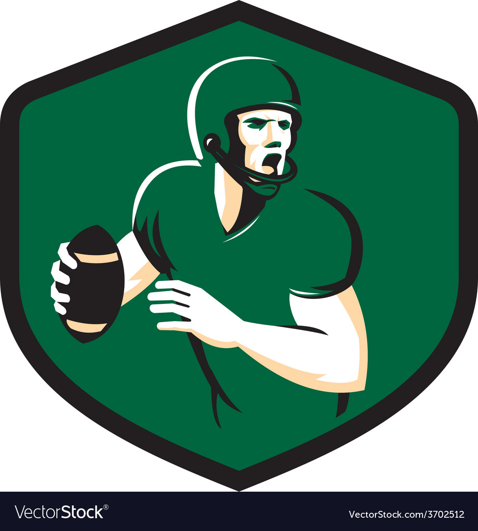 American football quarterback qb shield retro vector | Price: 1 Credit (USD $1)