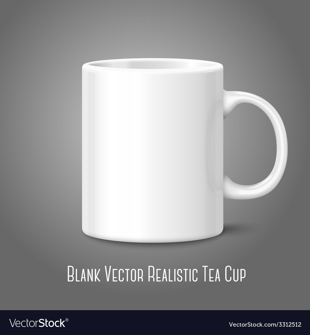 Blank white photo realistic isolated on gray cup vector | Price: 1 Credit (USD $1)