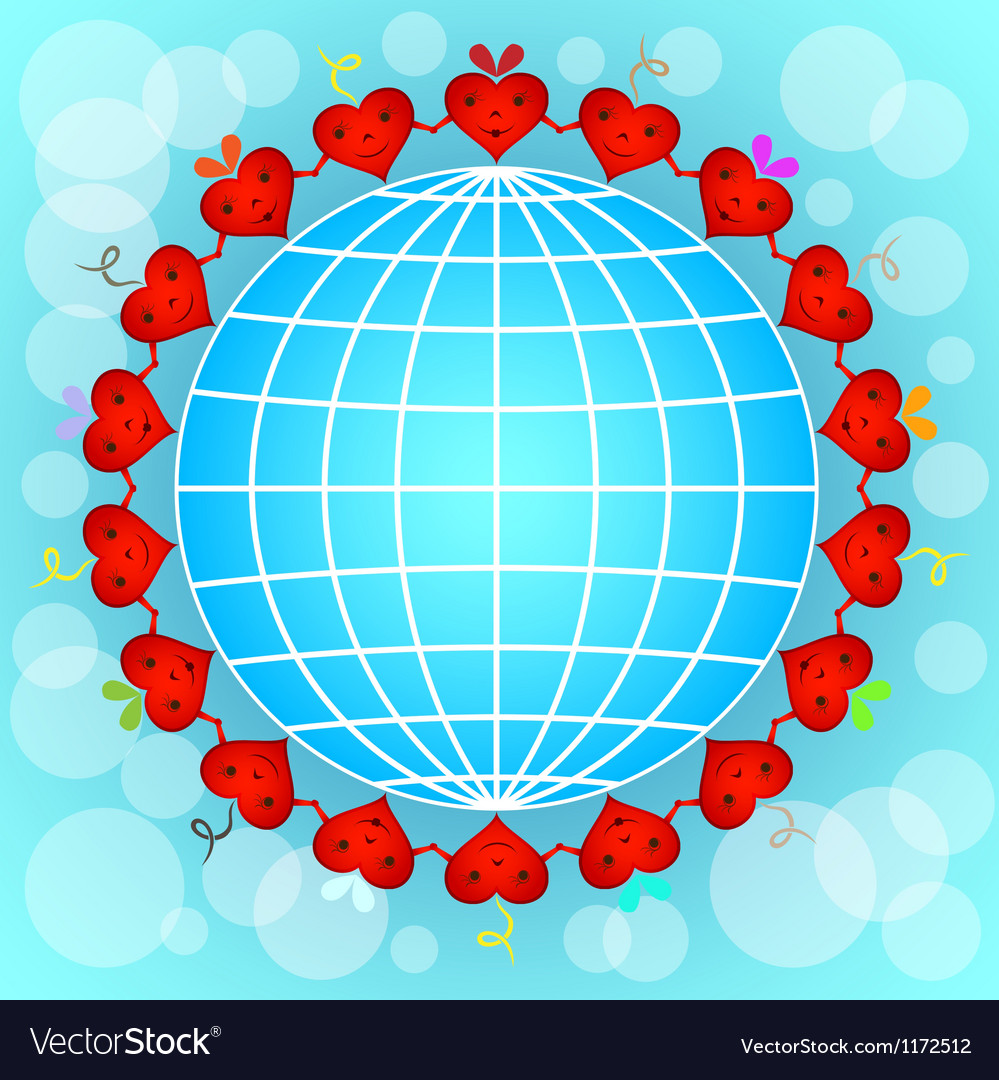 Cartoon red hearts circle around globe vector | Price: 1 Credit (USD $1)