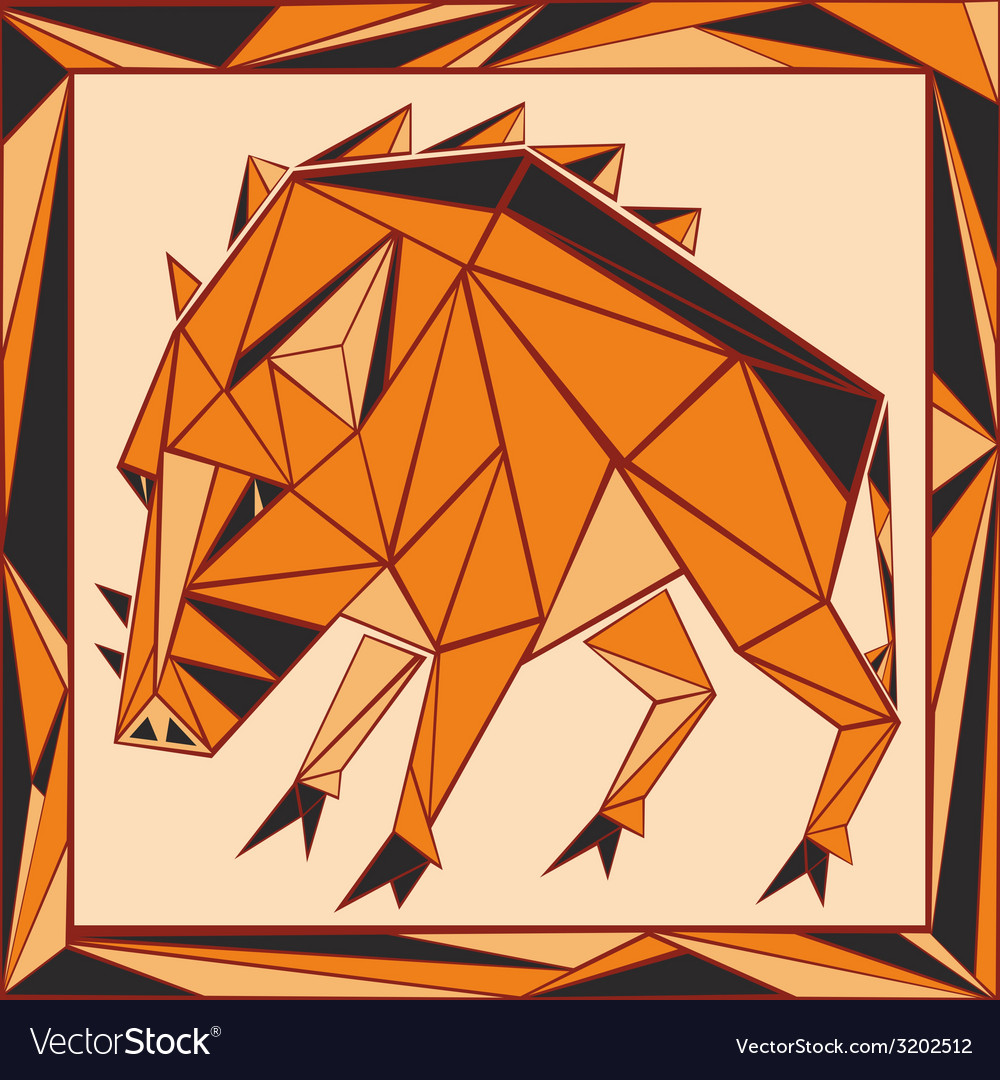 Chinese horoscope stylized stained glass pig vector | Price: 1 Credit (USD $1)