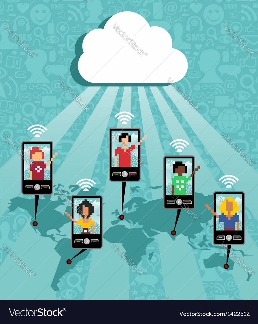 Cloud computing phone communication vector | Price: 1 Credit (USD $1)