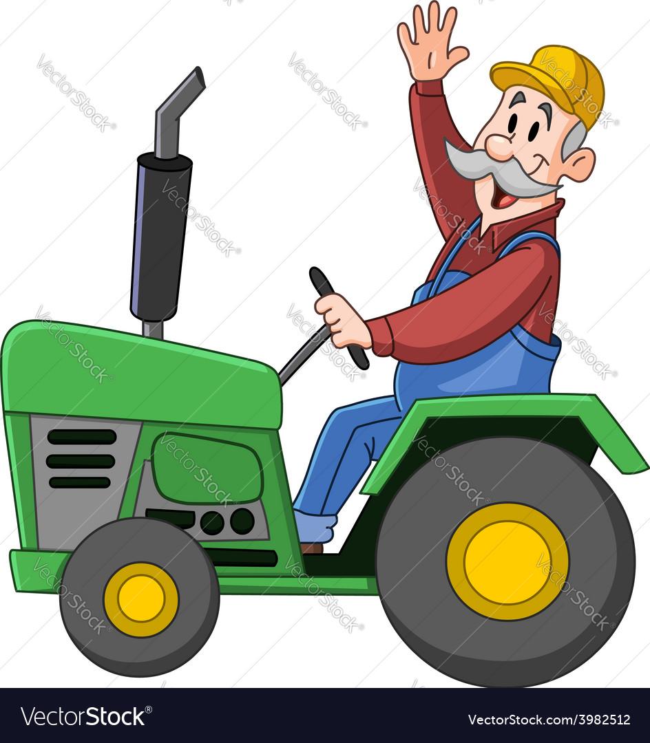 Farmer driving tractor vector | Price: 1 Credit (USD $1)