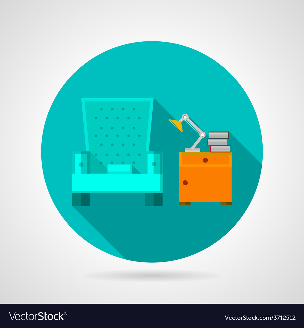 Flat color room interior icon vector | Price: 1 Credit (USD $1)