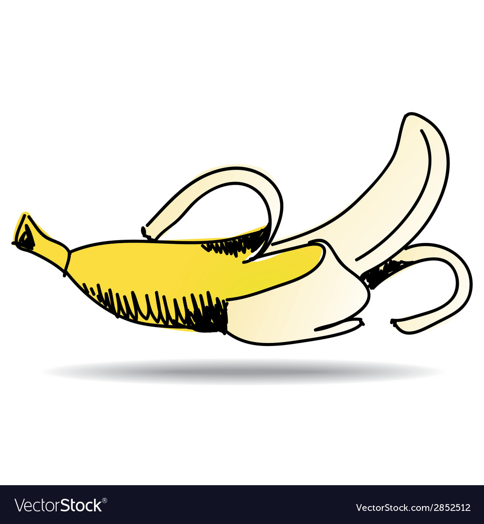 Freehand drawing banana icon vector | Price: 1 Credit (USD $1)