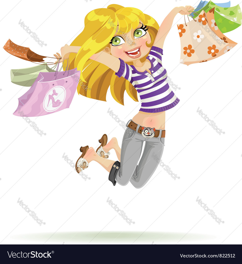 Girl shopaholic with shopping bags on white vector | Price: 3 Credit (USD $3)