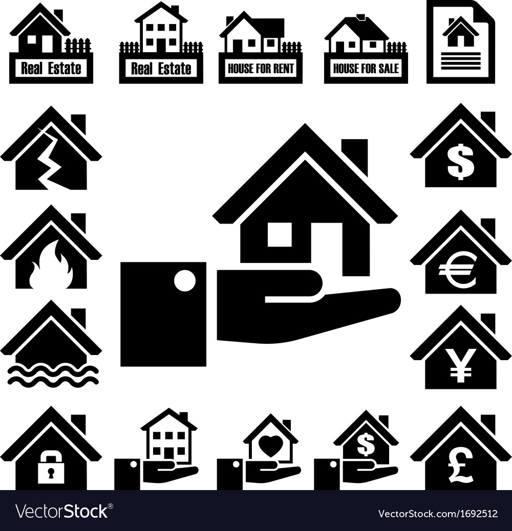 House insurance icons set vector | Price: 1 Credit (USD $1)