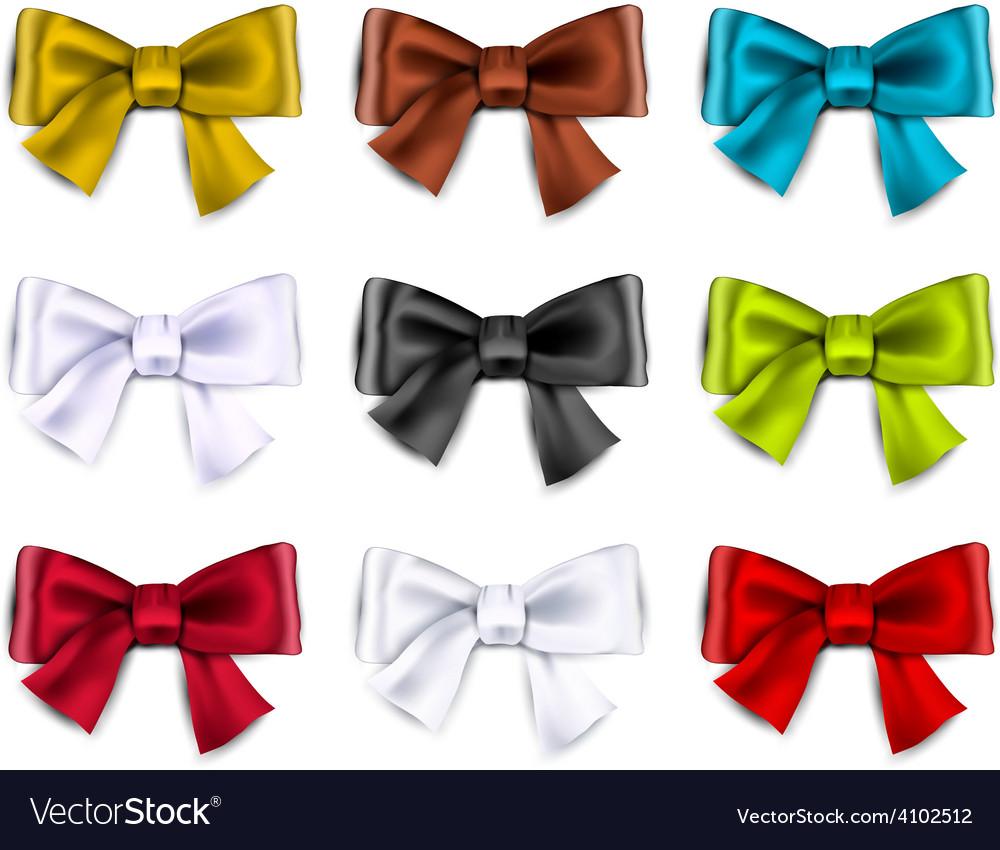 Satin color ribbons gift bows vector | Price: 1 Credit (USD $1)