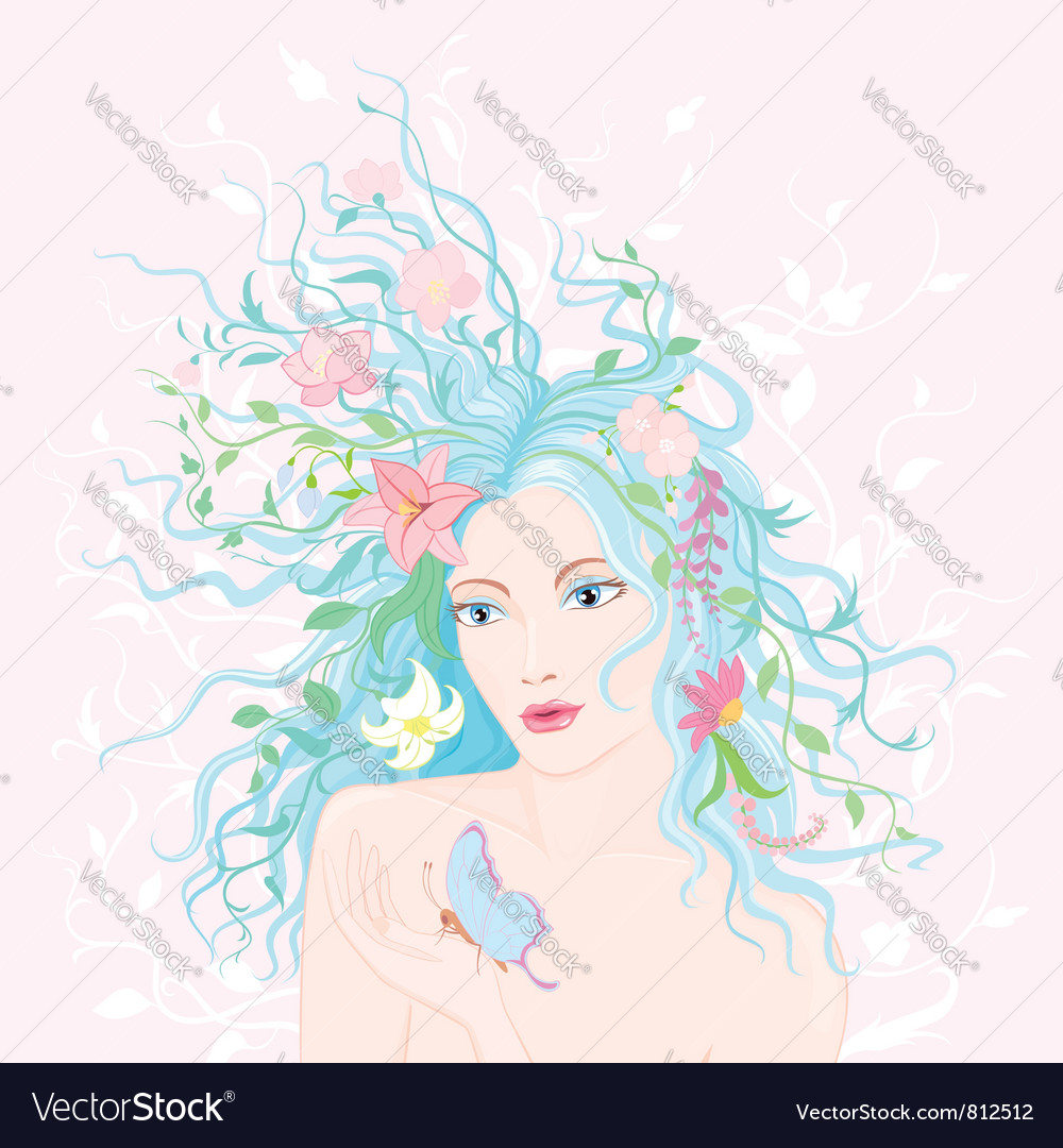 Spring lady vector | Price: 5 Credit (USD $5)