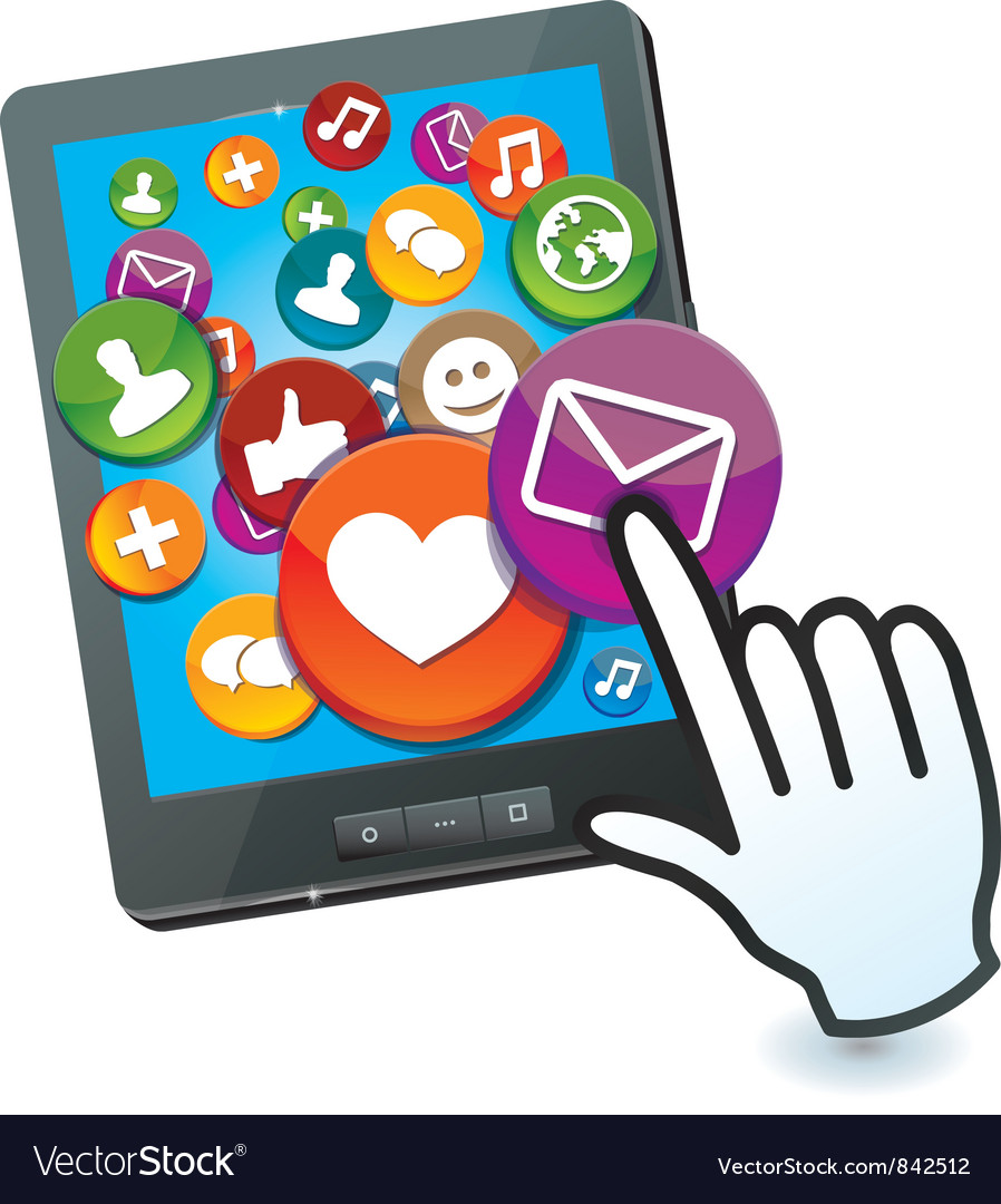 Tablet pc with social media icons and hand cursor vector | Price: 3 Credit (USD $3)