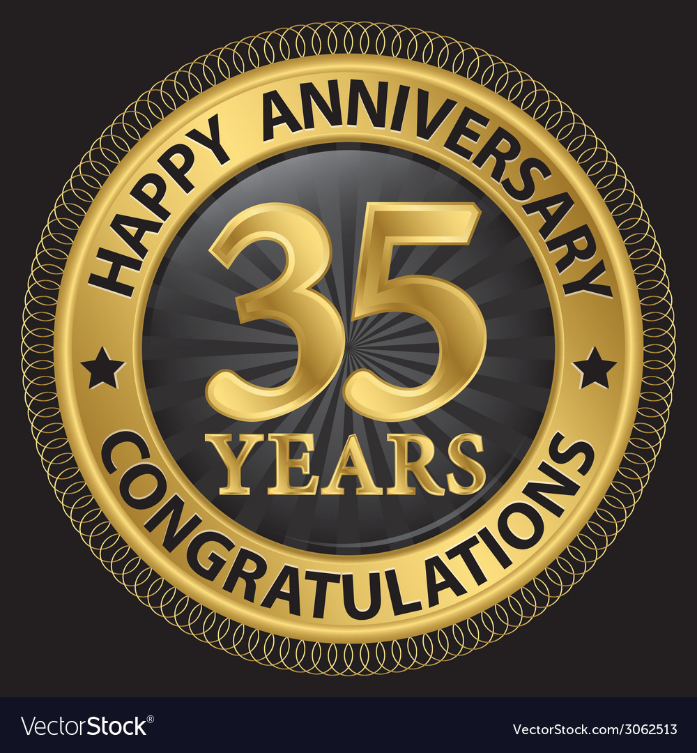 35 years happy anniversary congratulations gold vector | Price: 1 Credit (USD $1)