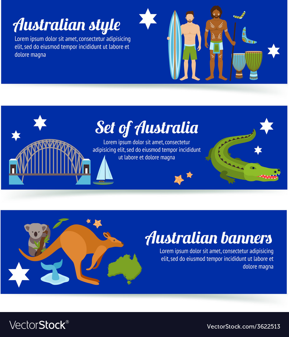 Australia banner set vector | Price: 1 Credit (USD $1)