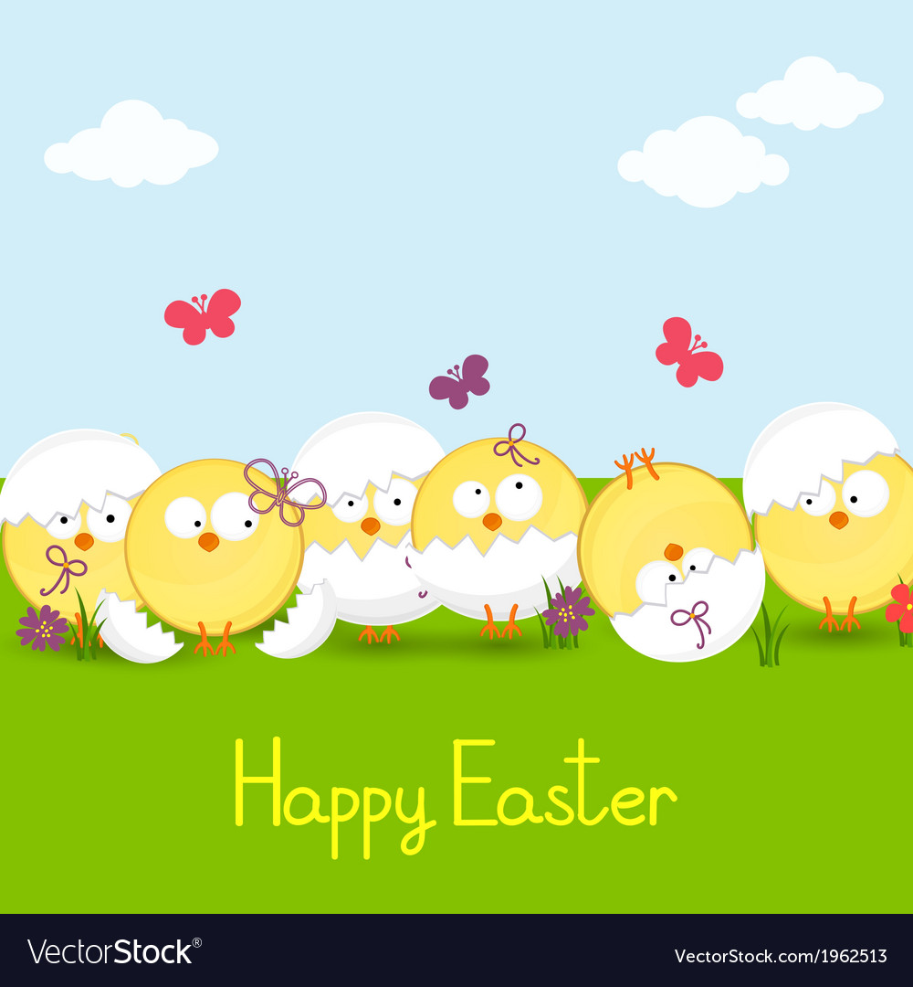 Easter chickens against the sky vector | Price: 1 Credit (USD $1)