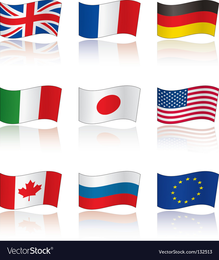 Flags of g8 members reflection vector | Price: 1 Credit (USD $1)