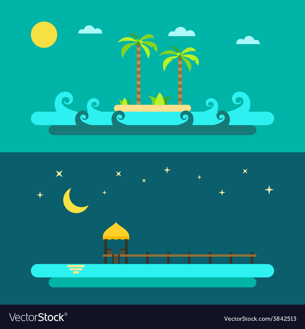 Flat design of summer paradise beach vector | Price: 1 Credit (USD $1)