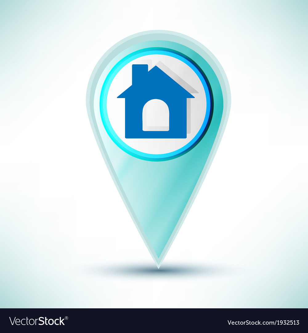 Glossy web icon home design element on a blue vector | Price: 1 Credit (USD $1)