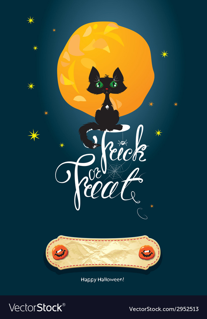 Halloween night cat on moon and sky background vector | Price: 1 Credit (USD $1)