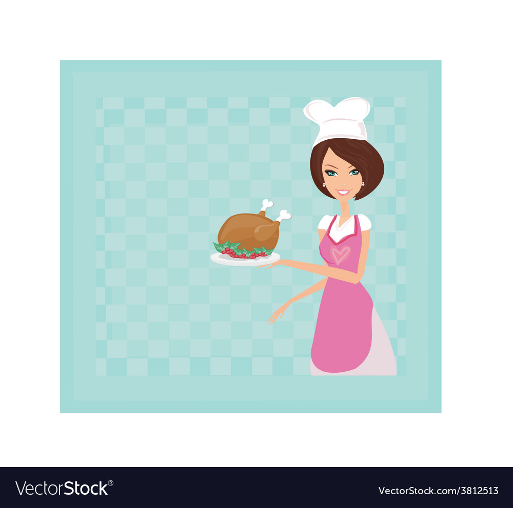Housewife serving a chicken or turkey vector | Price: 1 Credit (USD $1)