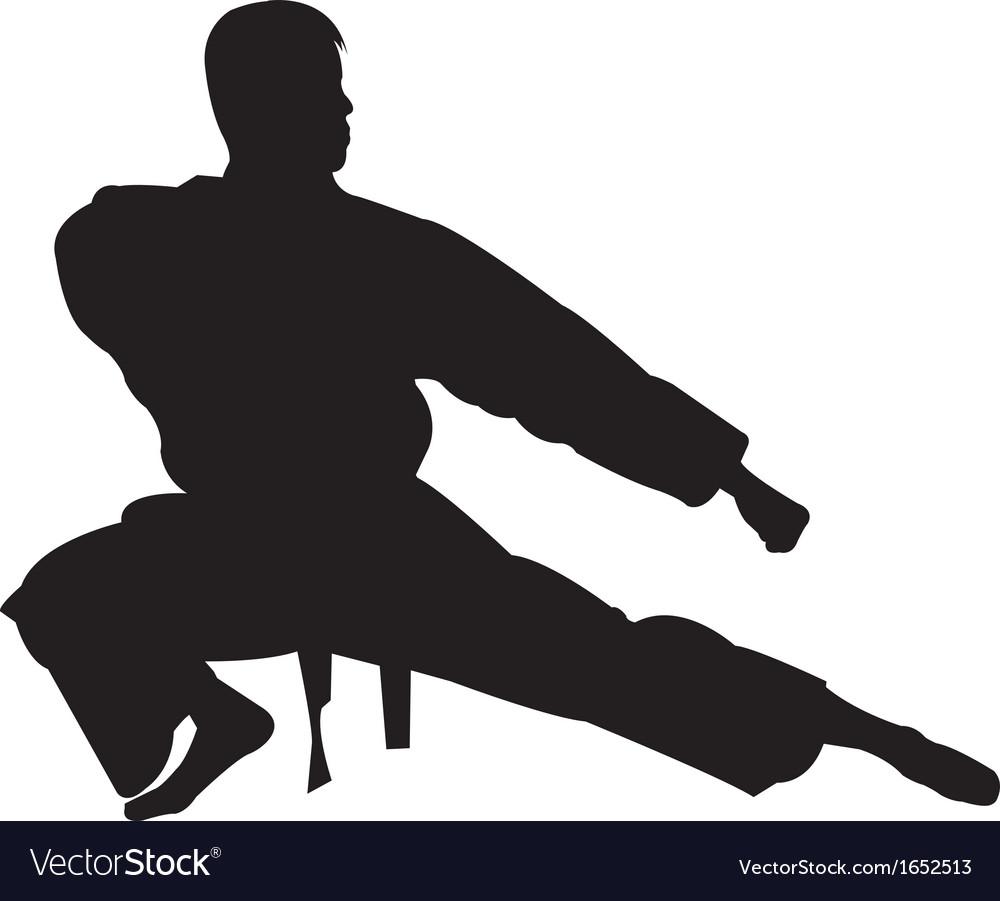 Karate man silhouette vector | Price: 1 Credit (USD $1)