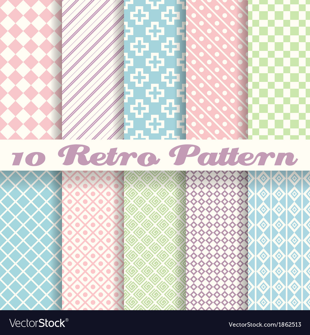 Pastel retro different seamless patterns tiling vector | Price: 1 Credit (USD $1)