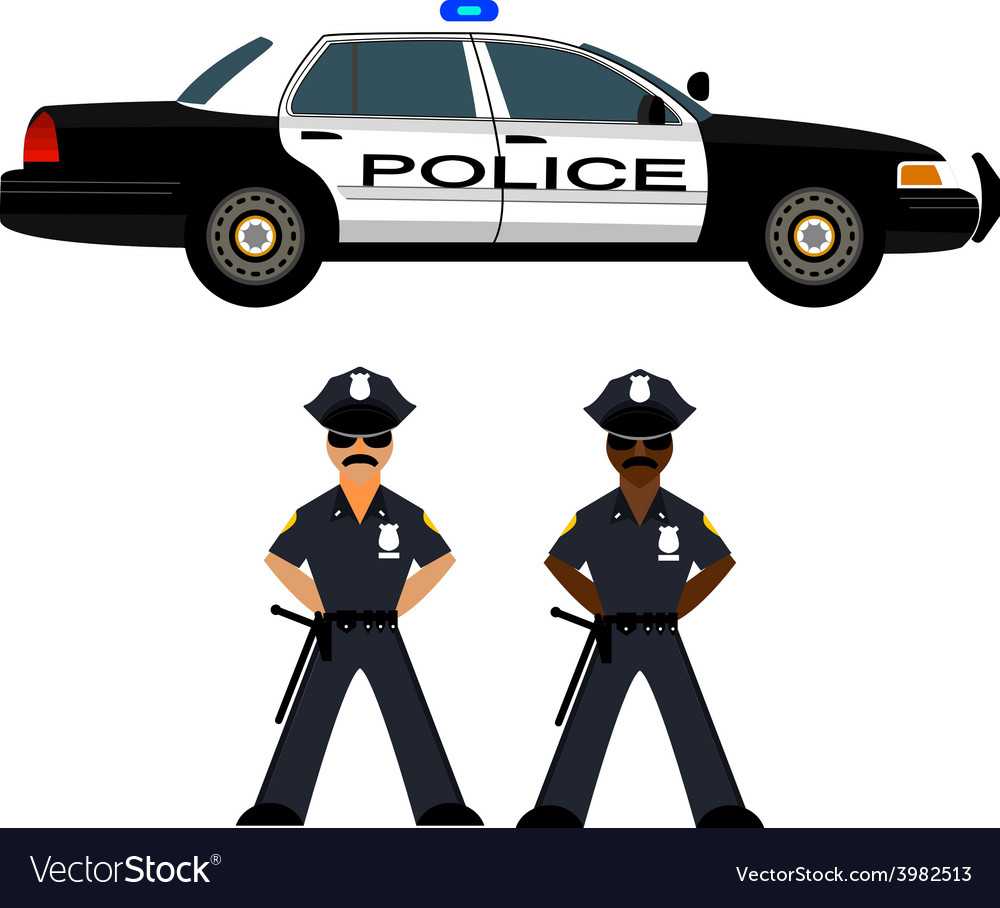 Police car and police officer vector | Price: 1 Credit (USD $1)