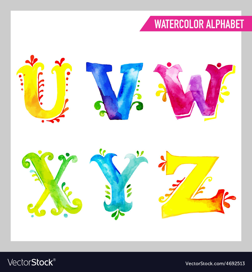Watercolor alphabet  abc painted letters uz vector
