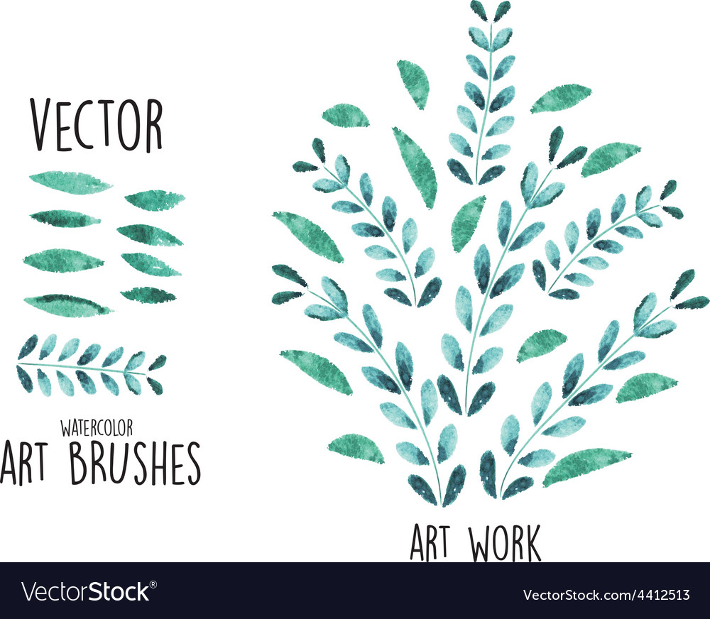 Watercolor brushes with leaves elements vector | Price: 1 Credit (USD $1)