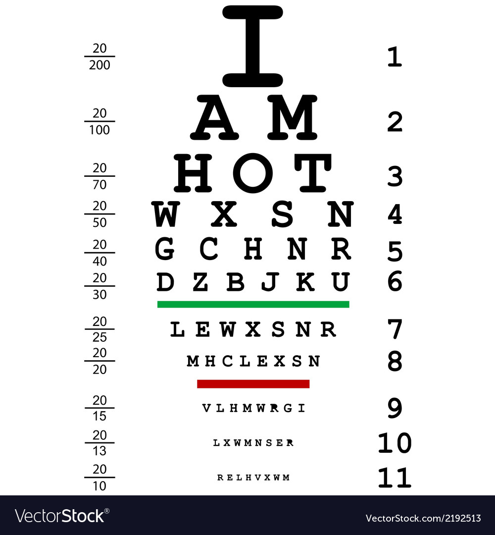 Words i am hot with optical eye test use by vector | Price: 1 Credit (USD $1)